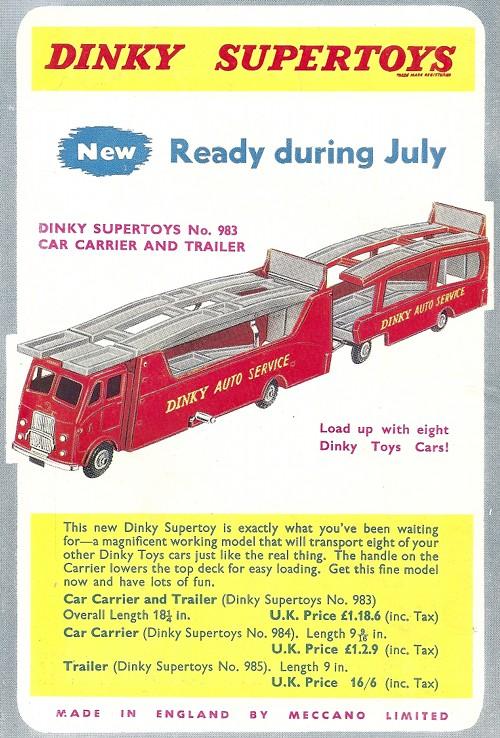 Publicité en dos de couverture du Meccano Magazine de juillet 1958